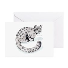 Snow Leopard Wild Cat Greeting Cards (Pk of 10