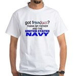 Got Freedom? Navy (Father) White T-Shirt
