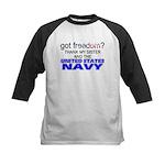 Got Freedom? Navy (Sister) Kids Baseball Jersey