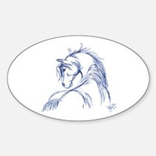 Horse Head Sketch Oval Decal