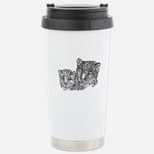 snow leopard mom and cub Travel Mug