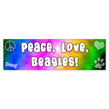 Hippie Beagle Bumper Sticker