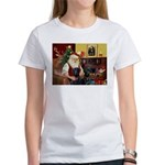 Santa's 2 Black Labs Women's T-Shirt