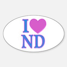 I Love ND Oval Decal