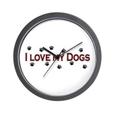 I Love My Dogs Wall Clock