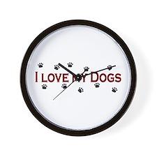 I Love My Dogs Wall Clock