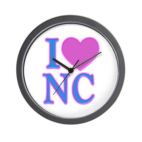 I Love NC Wall Clock