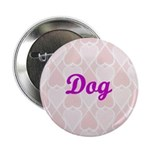 Dog Pink Hearts Button