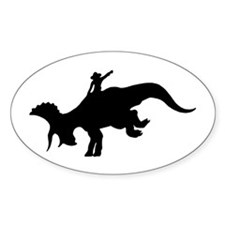 Black Rodeo Triceratops Oval Decal