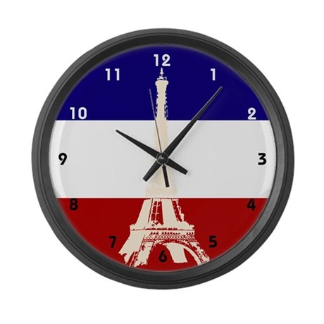 Eiffel Tower French Flag Large Wall Clock