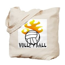 Volleyball with Flames Tote Bag