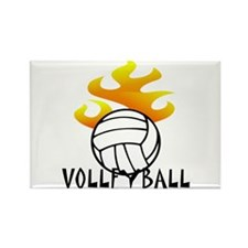Volleyball with Flames Rectangle Magnet