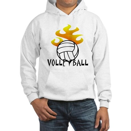 Volleyball with Flames Hooded Sweatshirt