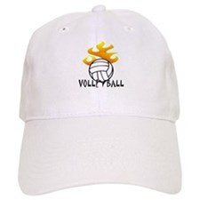 Volleyball with Flames Baseball Cap