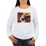 Santa's Newfie (L) Women's Long Sleeve T-Shirt