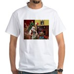 Santa/Norwegian Elkhound White T-Shirt