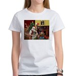 Santa/Norwegian Elkhound Women's T-Shirt