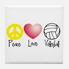 Peace, Love, Volleyball Tile Coaster