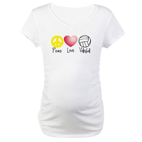 Peace, Love, Volleyball Maternity T-Shirt