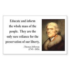 Thomas Jefferson 22 Rectangle Decal