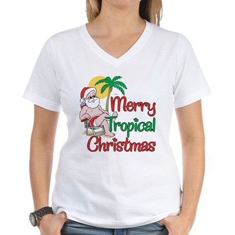 MERRY TROPICAL CHRISTMAS! Women's V-Neck T-Shirt
