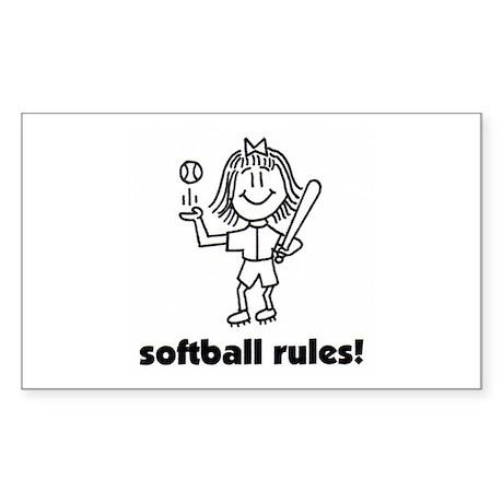 softball rules susie Rectangle Sticker