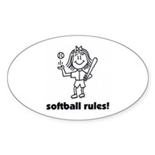 softball rules susie Oval Decal