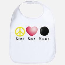 Peace, Love, Hockey Bib