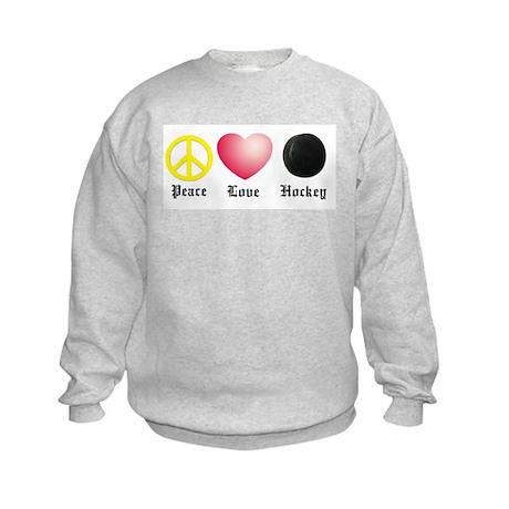 Peace, Love, Hockey Kids Sweatshirt