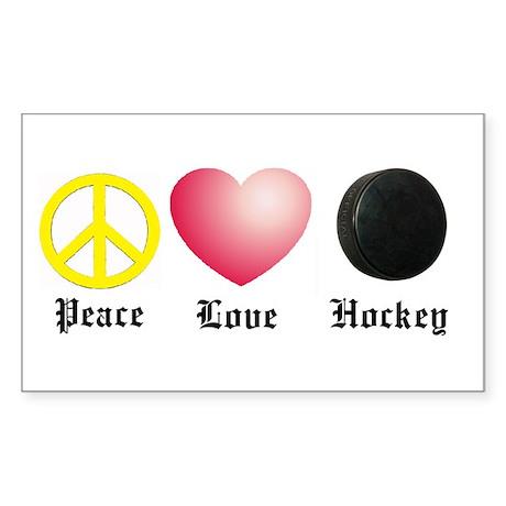Peace, Love, Hockey Rectangle Sticker