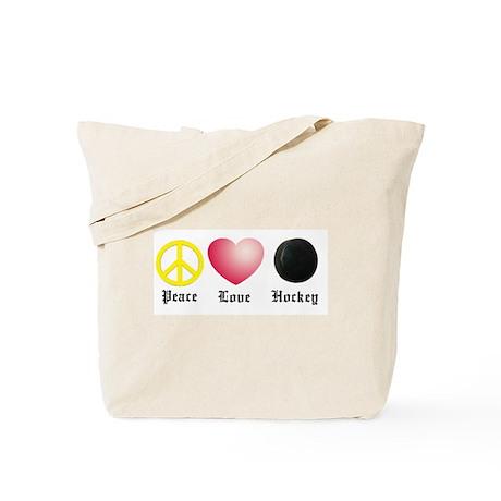 Peace, Love, Hockey Tote Bag