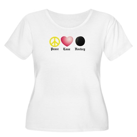 Peace, Love, Hockey Women's Plus Size Scoop Neck T