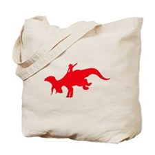 Red Rodeo Triceratops Tote Bag