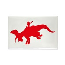 Red Rodeo Triceratops Rectangle Magnet