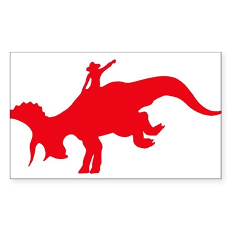 Red Rodeo Triceratops Rectangle Sticker