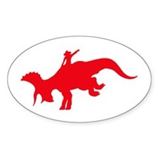 Red Rodeo Triceratops Oval Decal