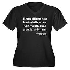 Thomas Jefferson 18 Women's Plus Size V-Neck Dark