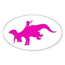 Pink Rodeo Triceratops Oval Decal