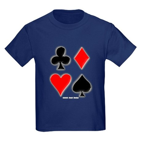 Playing Card Suits Kids Dark T-Shirt