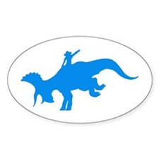 Light Blue Rodeo Triceratops Oval Decal