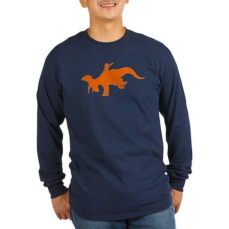 Orange Rodeo Triceratops Long Sleeve Dark T-Shirt