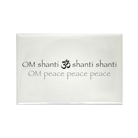 Om shanti shanti shanti peace Rectangle Magnet