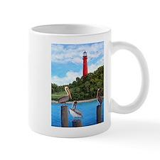 Jupiter Inlet Lighthouse Pelicans Mug Mugs