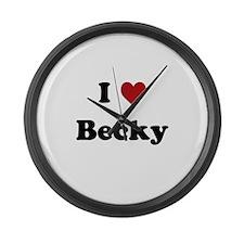 I Love Becky Large Wall Clock