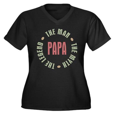 Papa Man Myth Legend Women's Plus Size V-Neck Dark
