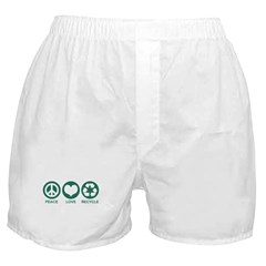 Peace Love Recycle Boxer Shorts