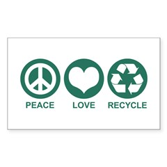 Peace Love Recycle Rectangle Decal