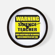 Warning science teacher Wall Clock