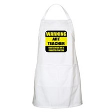 Warning art teacher sign BBQ Apron