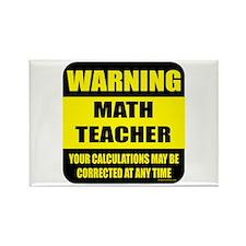 Warning math teacher sign Rectangle Magnet (10 pac